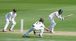 Glamorgan's Mark Wallace flicks the ball. - Photo mandatory by-line: Harry Trump/JMP - Mobile: 07966 386802 - 21/04/15 - SPORT - CRICKET - LVCC County Championship - Division 2 - Day 3 - Glamorgan v Surrey - Swalec Stadium, Cardiff, Wales.