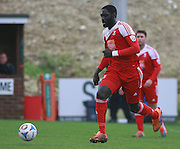 Whitehawk midfielder David Ijaha during the FA Trophy match between Whitehawk FC and Dover Athletic at the Enclosed Ground, Whitehawk, United Kingdom on 12 December 2015. Photo by Bennett Dean.