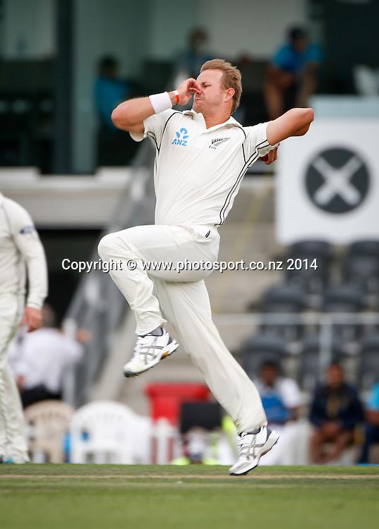 Neil Wagner bowls. Day 2, ANZ Boxing Day Cricket Test, New Zealand Black Caps v Sri Lanka, 27 December 2014, Hagley Oval, Christchurch, New Zealand. Photo: John Cowpland / www.photosport.co.nz