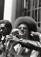 Kathleen Cleaver talking at Free Huey Newton rally at Federal Building in San Francisco Federal building California on Mayday 1969
