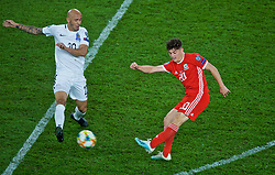 CARDIFF, WALES - Friday, September 6, 2019: Wales' Daniel James (R) and Azerbaijan's Richard Almeida during the UEFA Euro 2020 Qualifying Group E match between Wales and Azerbaijan at the Cardiff City Stadium. (Pic by Paul Greenwood/Propaganda)