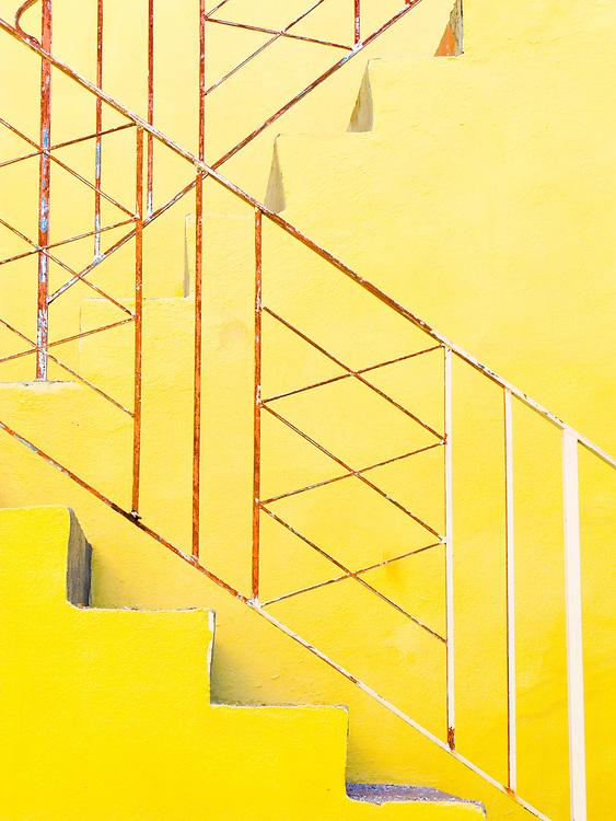 Stair railing on a small Miami Modern apartment house in South Beach's Flamingo Park neighborhood