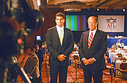 NFL Commissioner Pete Rozelle (right) does a television interview with Tampa Bay Buccaneers quarterback Vinny Testaverde after the player was selected as the number one overall pick by that team during the 1987 NFL Draft on April 28, 1987 in New York, N.Y. (©Paul Anthony Spinelli)