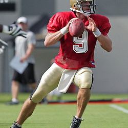 31 July 2009: New Orleans Saints quarterback Drew Brees (9) participates in drills during the opening day of New Orleans Saints training camp held at the team's practice facility in Metairie, Louisiana.