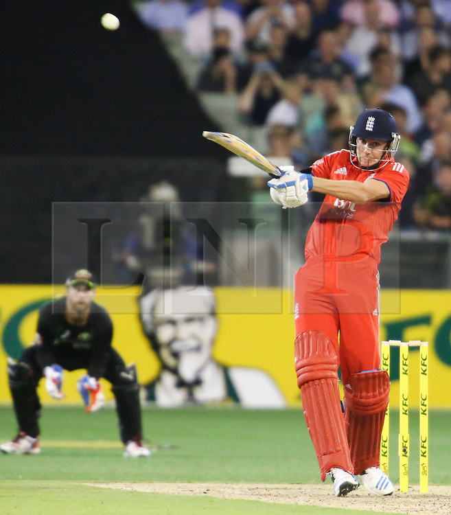 © Licensed to London News Pictures. 26/12/2013. Stuart Broad  batting during the 2nd T20 international between Australia Vs England at the Melbourne Cricket Ground, Victoria, Australia. Photo credit : Asanka Brendon Ratnayake/LNP