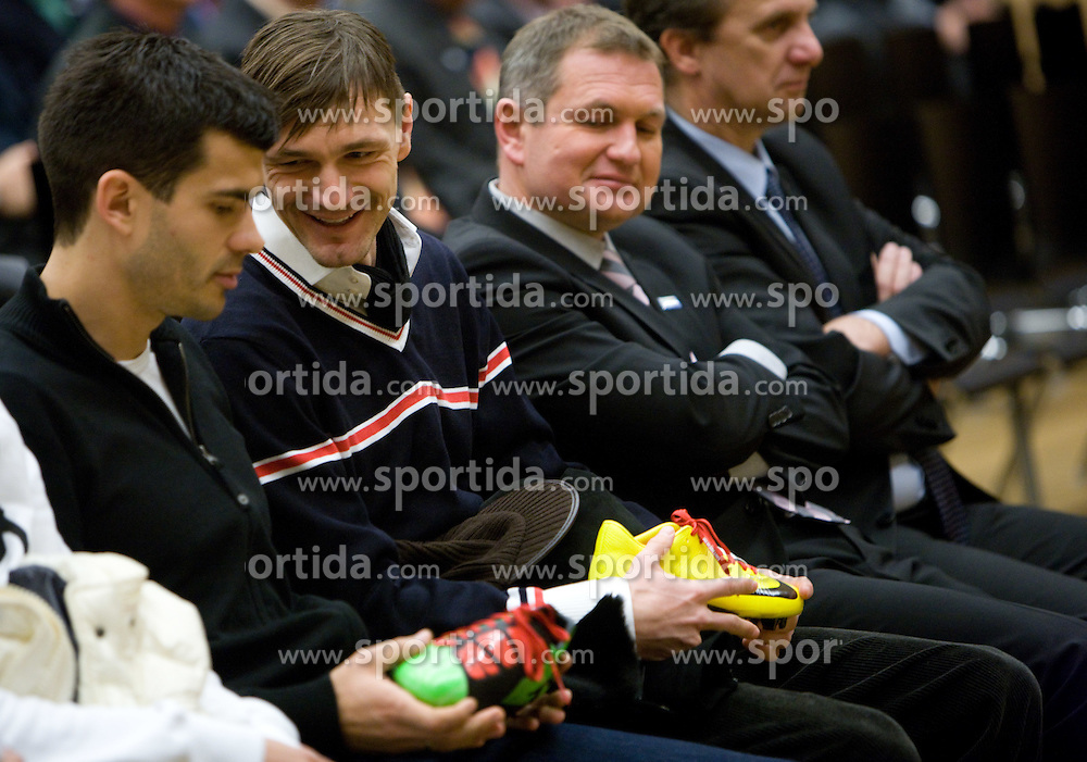 Aleksander Radosavljevic and Milivoje Novakovic with new sport shoes and Matjaz Kek at New Year's  party of Slovenian football federation, on December 22, 2009, in Center Brdo, Slovenia. (Photo by Vid Ponikvar / Sportida)