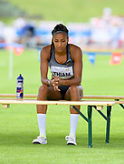 Nafi Thiam aka Nafissatou Thiam (BEL) reacts during the heptathlon high jump at the DecaStar meeting, Friday, June 22, 2019, in Talence, France. Thiam won with 6,819 points. (Jiro Mochizuki/Image of Sport via AP)