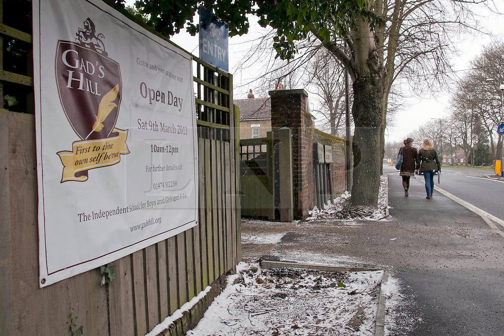 © London News Pictures. 11/03/2013. Entrance of Gad's Hill School in Higham, Kent. A pupil of this school, 16 year old Charlie Booth, was found dead at his home on Friday 8th March after apparently shooting himself with a gun. Photo credit should read Manu Palomeque/LNP