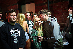 "© Licensed to London News Pictures . 14/02/2016 . Manchester , UK . People queuing outside "" The Factory "" . Revellers in Manchester out overnight on Valentine's Day evening . Photo credit : Joel Goodman/LNP"