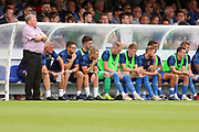 AFC Wimbledon manager Wally Downes looking onto pitch during the EFL Sky Bet League 1 match between AFC Wimbledon and Rotherham United at the Cherry Red Records Stadium, Kingston, England on 3 August 2019.
