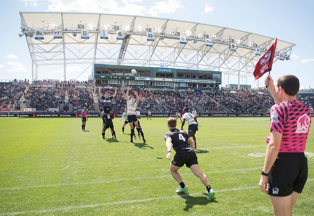 Teams compete in pool play of the 2017 Penn Mutual Collegiate Rugby Championship at Talen Energy Stadium in Philadelphia. June 3, 2017. <br /> <br /> By Jack Megaw.<br /> <br /> www.jackmegaw.com<br /> <br /> jack@jackmegaw.com<br /> @jackmegawphoto<br /> [US] +1 610.764.3094<br /> [UK] +44 07481 764811