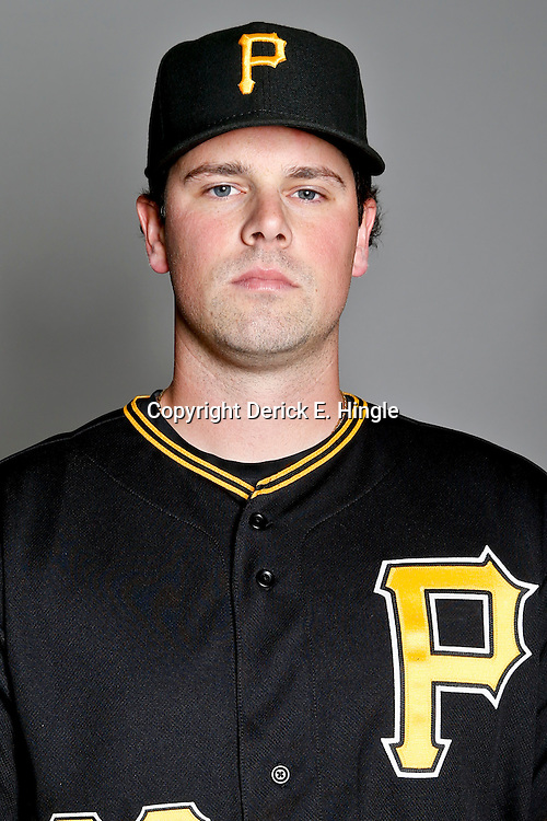 February 17, 2013; Bradenton, FL, USA;  Pittsburgh Pirates pitcher Vin Mazzaro (32) poses for photo day at Pirate City.  Mandatory Credit: Derick E. Hingle-USA TODAY Sports