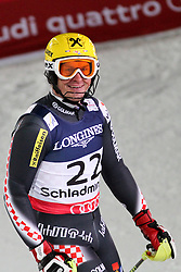 11.02.2013, Planai, Schladming, AUT, FIS Weltmeisterschaften Ski Alpin, Super Kombination, Slalom,  Herren, im Bild Ivica Kostelic (CRO, 2. Platz) // Ivica Kostelic of Croatia, 2nd place, reacts after his run at Mens Super Combined Slalom at the FIS Ski World Championships 2013 at the Planai Course, Schladming, Austria on 2013/02/11. EXPA Pictures © 2013, PhotoCredit: EXPA/ Martin Huber