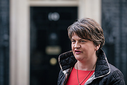© Licensed to London News Pictures. 21/11/2017. London, UK. DUP Leader ARLENE FOSTER leaves 10 Downing Street after meeting with Prime Minister Theresa May. Photo credit: Rob Pinney/LNP
