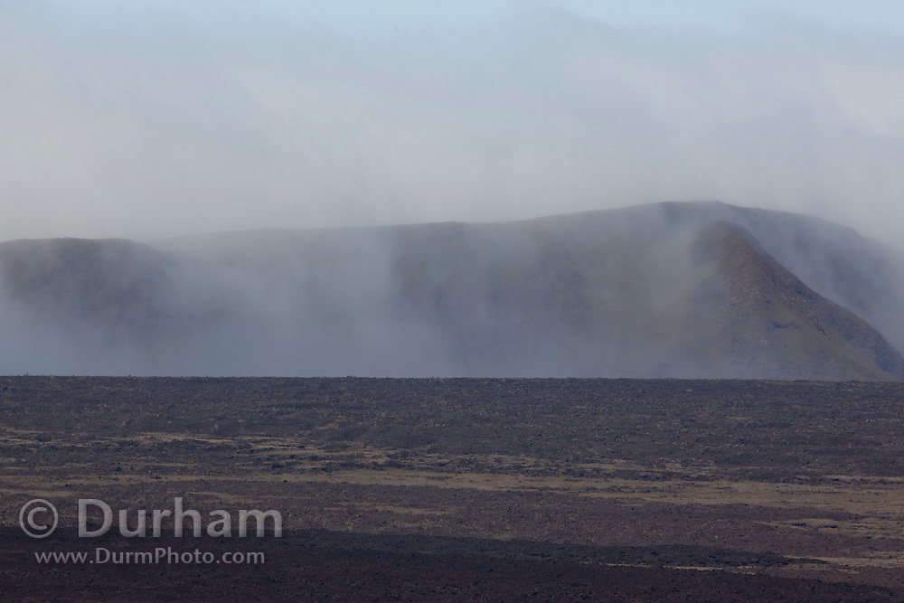 A view into the crater of the Sierra Negra volcano on Isabela Island, Galapagpos Archipelago - Ecuador.