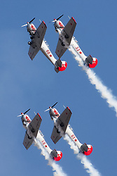 An aerobatic team performs during the inauguration of the Aero India 2015 in Air Force Station Yelahanka of Bangalore, India, Feb. 18, 2015. The biennial air show this year attracted dealers from 49 countries, showcasing their aero-related products in military and civilian fields. EXPA Pictures © 2015, PhotoCredit: EXPA/ Photoshot/ Zheng Huansong<br /> <br /> *****ATTENTION - for AUT, SLO, CRO, SRB, BIH, MAZ only*****
