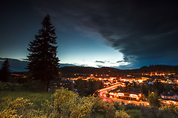 """Downtown Truckee 36"" - Photograph of little Bitterbrush wildflowers above historic Downtown Truckee, California, shot just after sunset."