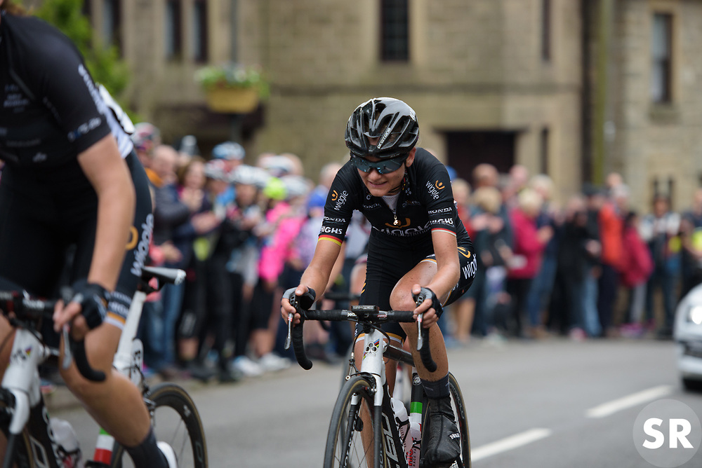 Claudia Lichtenberg approaches the top of the climb in Crich - Stage 4 of the OVO Energy Women's Tour - a 123 km road race, starting and finishing in Chesterfield on June 10, 2017, in Derbyshire, United Kingdom. (Photo by Sean Robinson/Velofocus.com)
