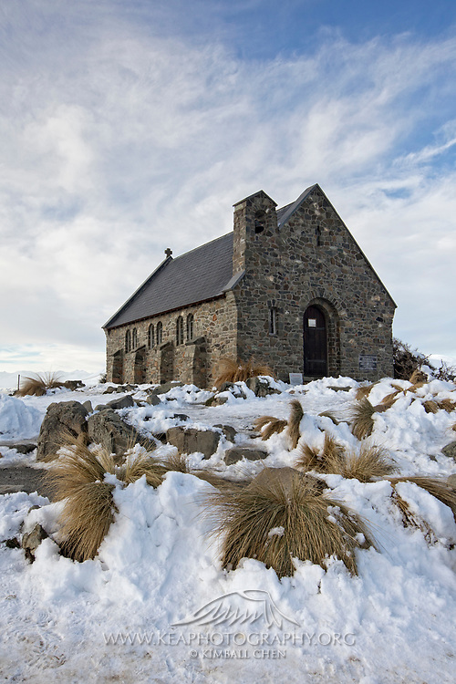 The Church of the Good Shepherd on a winter afternoon in Tekapo