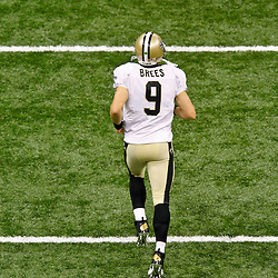 September 23, 2012; New Orleans, LA, USA;  New Orleans Saints quarterback Drew Brees (9) takes to the field prior to kickoff of a game against the Kansas City Chiefs at the Mercedes-Benz Superdome. Mandatory Credit: Derick E. Hingle-US PRESSWIRE