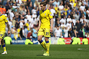 Leeds United defender, Charlie Taylor (21) during the Sky Bet Championship match between Preston North End and Leeds United at Deepdale, Preston, England on 7 May 2016. Photo by Pete Burns.