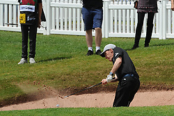 © Licensed to London News Pictures. 01/07/2017. London, UK, Comedian and tv presenter Rob Brydon in a sand bunker during The 2017 Celebrity Cup golf tournament at the Celtic Manor Resort, Newport, South Wales. Photo credit: Jeff Thomas/LNP