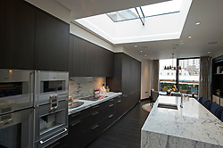 **Home supplement** © Ben Cawthra. 22/01/2013. The kitchen of the penthouse apartment of The Lansbury, on Basil Street, London, recently refurbished in to 6 luxury apartments opposite Harrods in central London. Photo credit: Ben Cawthra.