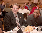 """Martin Luther King Jr. Day:..Alpha Phi Alpha Fraternity, Inc. Phi Chapter presents """"One Nation Under God with Liberty and Justice for all"""" Dr. Martin Luther King Jr. Memorial Service Brunch. James Hintz (left) and Adonis Bolden(right) enjoy brunch"""