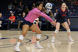 October 7, 2018 - Tucson, AZ, U.S. - TUCSON, AZ - OCTOBER 07: Arizona Wildcats libero / defensive specialist Emi Pua'a (33) hits the ball during a college volleyball game between the Arizona Wildcats and the Washington State Cougars on October 07, 2018, at McKale Center in Tucson, AZ. Washington State defeated Arizona 3-2. (Photo by Jacob Snow/Icon Sportswire) (Credit Image: © Jacob Snow/Icon SMI via ZUMA Press)