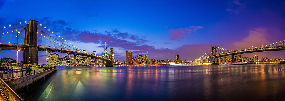 Panorama of the Brooklyn Bridge, Manhattan Bridge, and the Manhattan skyline from Brooklyn, New York City, New York, USA
