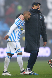 "Foto Filippo Rubin<br /> 03/03/2018 Ferrara (Italia)<br /> Sport Calcio<br /> Spal - Bologna - Campionato di calcio Serie A 2017/2018 - Stadio ""Paolo Mazza""<br /> Nella foto: EVERTON LUIZ (SPAL) E LEONARDO SEMPLICI (ALLENATORE SPAL)<br /> <br /> Photo by Filippo Rubin<br /> March 03, 2018 Ferrara (Italy)<br /> Sport Soccer<br /> Spal vs Bologna - Italian Football Championship League A 2017/2018 - ""Paolo Mazza"" Stadium <br /> In the pic: EVERTON LUIZ (SPAL) AND LEONARDO SEMPLICI (ALLENATORE SPAL)"