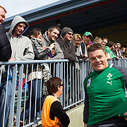 Brian O'Driscoll reacts to  a warm welcome from the crowd at the Irish team training at The Queenstown Events Centre in preparation for the IRB Rugby World Cup. The team are based in Queenstown for the early part of the tournament.  Queenstown, New Zealand, 4th September 2011. Photo Tim Clayton...
