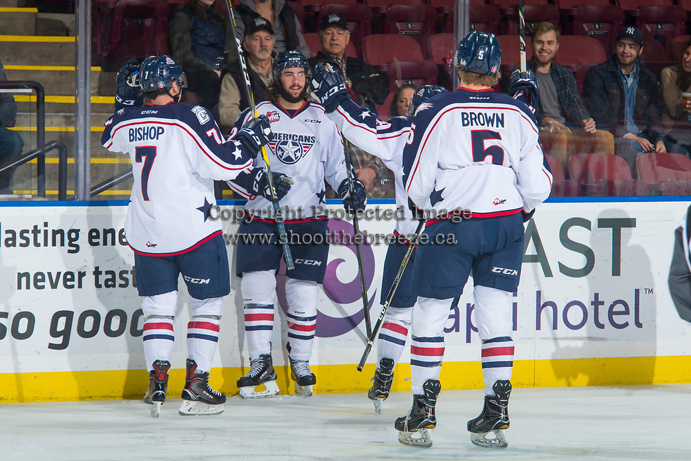 KELOWNA, CANADA - OCTOBER 27: Anthony Bishop #7 Nolan Yaremko #22 and Mitchell Brown #5 of the Tri-City Americans celebrate a goal against the Kelowna Rockets on October 27, 2017 at Prospera Place in Kelowna, British Columbia, Canada.  (Photo by Marissa Baecker/Shoot the Breeze)  *** Local Caption ***