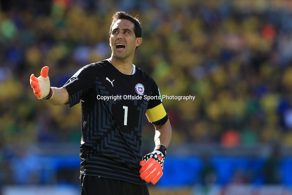 28th June 2014 - FIFA World Cup - Round of 16 - Brazil v Chile - Chile goalkeeper Claudio Bravo looks dejected - Photo: Simon Stacpoole / Offside.