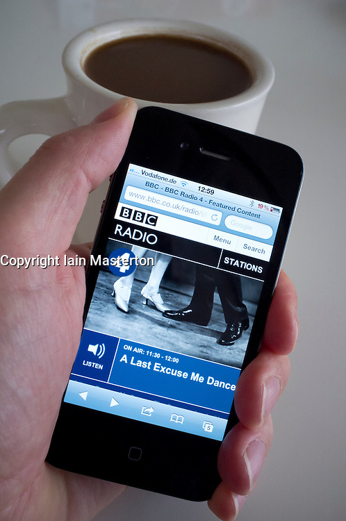 Listening to streaming BBC Radio 4 online on an iPhone 4G smart phone