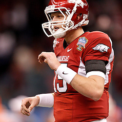 January 4, 2011; New Orleans, LA, USA; Arkansas Razorbacks quarterback Ryan Mallett (15) during warm ups prior to kickoff of the 2011 Sugar Bowl against the Ohio State Buckeyes at the Louisiana Superdome.  Mandatory Credit: Derick E. Hingle