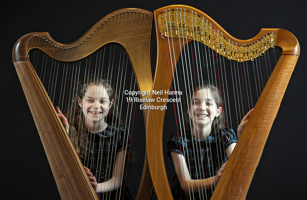 JP License<br /> <br /> Edinburgh International Harp Festival 1-6th April 2016.<br /> <br /> Brigitte and Clara Harrigan Lees.<br /> Age 9.<br /> Started learning harp at age 6.<br /> Study harp with Helen MacLeod at St Mary's Music School, where they are choristers.<br /> This is their 3rd year at the EIHF.<br /> They are participating in one of the harp courses and will attend various concerts at the festival.<br /> <br />  Neil Hanna Photography<br /> www.neilhannaphotography.co.uk<br /> 07702 246823
