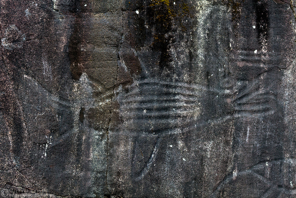 Petroglyphs carved in a rock face on Vancouver Island, British Columbia, Canada