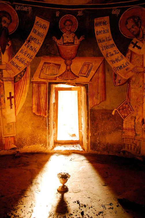 Orthodox church on the island of Aghios Achilleos, Mikri Prespa lake, Prespes lakes, north Greece.