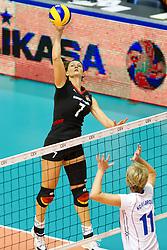 24.09.2011, Hala Pionir, Belgrad, SRB, Europameisterschaft Volleyball Frauen, Vorrunde Pool A, Deutschland (GER) vs. Ukraine (UKR), im Bild Angelina Grün / Gruen (#7 GER / Aachen GER) - Iryna Komisarova (#11 UKR) - Nadila Kodola (#16 UKR) // during the 2011 CEV European Championship, First round at Hala Pionir, Belgrade, SRB, 2011-09-24. EXPA Pictures © 2011, PhotoCredit: EXPA/ nph/  Kurth       ****** out of GER / CRO  / BEL ******