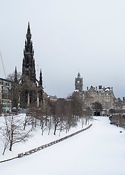 View over closed Princes Street Gardens after heavy snow with snow pristine in Edinburgh, Scotland, United Kingdom