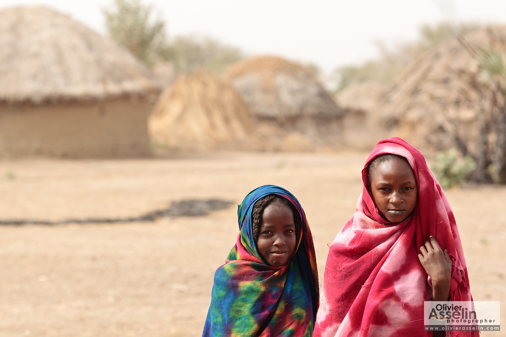 Hadje Adama, 9, (right) and a friend in the village of Moukloum Djidoum, Chad on Friday February 10, 2012. The village is part of the UNICEF-sponsored CLTS programme.