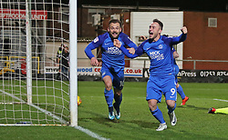 Danny Lloyd of Peterborough United (left) celebrates scoring the winning goal with team-mate Ricky Miller (right) - Mandatory by-line: Joe Dent/JMP - 17/12/2017 - FOOTBALL - Highbury Stadium - Fleetwood, England - Fleetwood Town v Peterborough United - Sky Bet League One