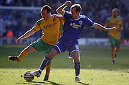 Leicester - Saturday, February 16th, 2008: Jamie Clapham (R) of Leicester City and Iain Hume (L) of Norwich City during the Coca Cola Championship match at the Walkers Stadium, Leicester. (Pic by Mark Chapman/Focus Images)