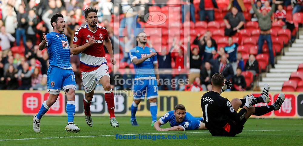 Gaston Ramirez (red top) of Middlesbrough celebrates scoring the opening goal during the Premier League match at the Riverside Stadium, Middlesbrough<br /> Picture by Simon Moore/Focus Images Ltd 07807 671782<br /> 29/10/2016