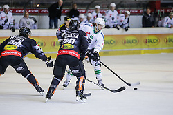 12.12.2016, Messestadion, Dornbirn, AUT, EBEL, Dornbirner Eishockey Club vs HDD Olimpija Ljubljana, 30. Runde, im Bild v. l. Mike Caruso, (Dornbirner Eishockey Club, #24), Brian Connelly, (Dornbirner Eishockey Club, #20) und Gal Koren, (HDD Olimpija Ljubljana, #19) // during the Erste Bank Icehockey League 30th round match between Dornbirner Eishockey Club and HDD Olimpija Ljubljana at the Messestadion in Dornbirn, Austria on 2016/12/12, EXPA Pictures © 2016, PhotoCredit: EXPA/ Peter Rinderer
