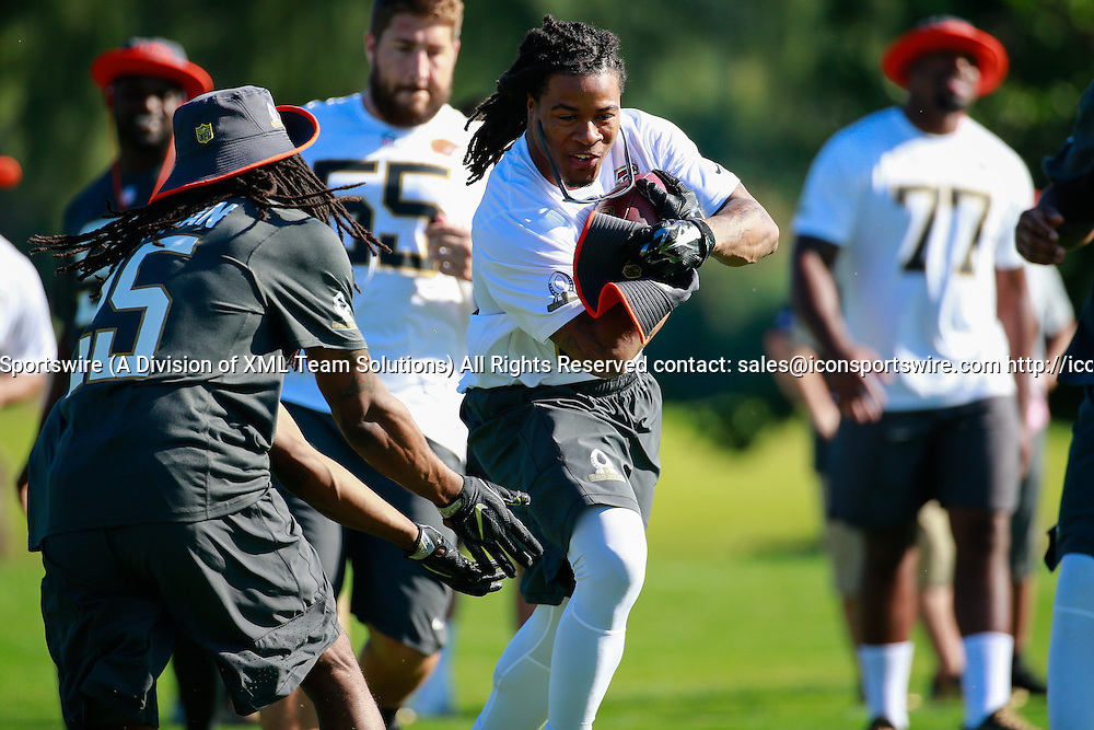 January 29 2016: Team Irvin Devonte Freeman during the Pro Bowl practice at Turtle Bay Resort on Oahu, HI. (Photo by Aric Becker/Icon Sportswire)