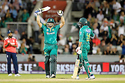 Khalid Latif celebrates his fifty during the International T20 match between England and Pakistan at the Emirates, Old Trafford, Manchester, United Kingdom on 7 September 2016. Photo by Craig Galloway.