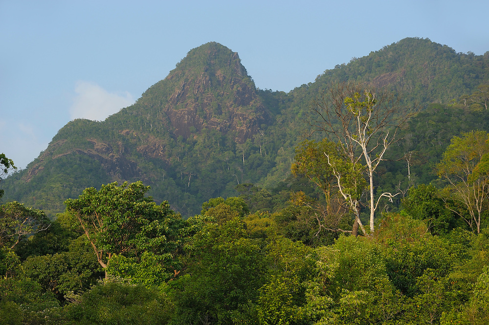 view to forested  Hills, White Sand Beach, Koh Chang, Thailand