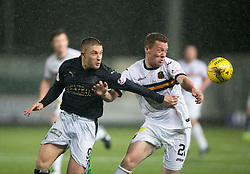 Falkirk's John Baird and Dumbarton's Scott Brown. <br /> Falkirk 1 v 0 Dumbarton, Scottish Championship game played 26/12/2015 at The Falkirk Stadium.